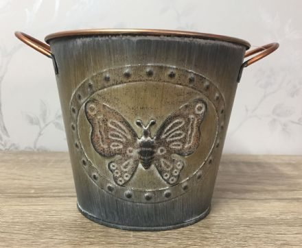 Vintage Butterfly Tin Planter 15 cm GOLD